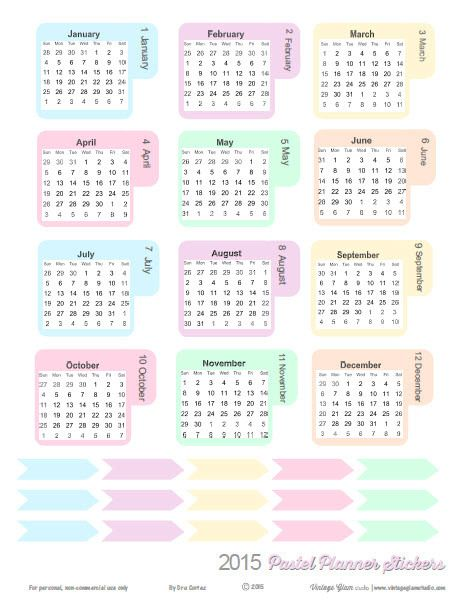 Free Printable 2015 Pastel Monthly Planner Stickers from Vintage Glam Studio