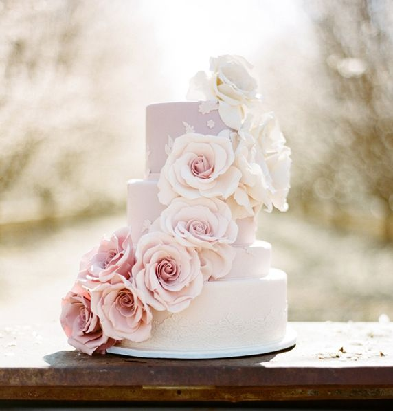 Soft Pastel Roses Wedding Cake Picture