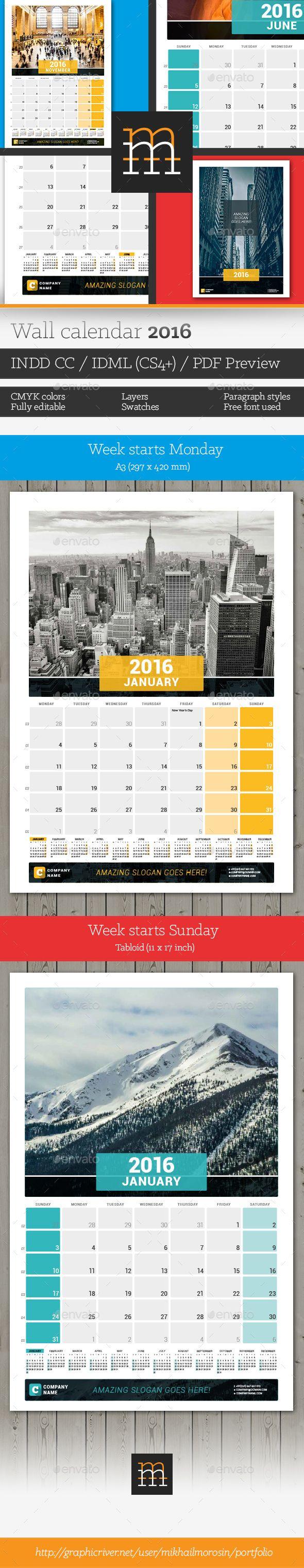 Wall Calendar 2016 Template InDesign INDD #design Download: http://graphicriver.net/item/wall-calendar-2016-/13321065?ref=ksioks
