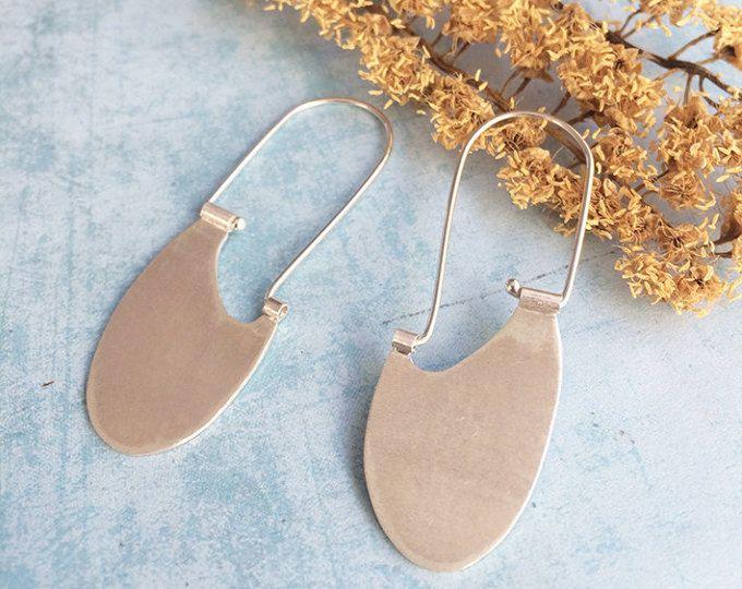 Sterling silver hook earrings - tribal earrings - dangle and drop - oval ethnic earrings - geometric earrings  Handmade by Carla Amaro