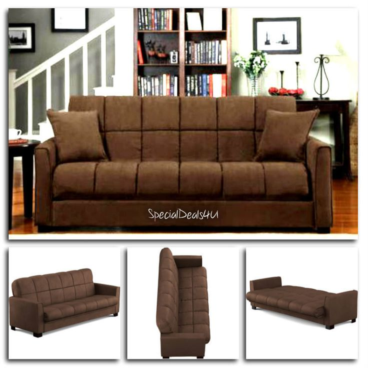 Futon Convertible Couch Sofa Bed Microfiber Sleeper Living Room Furniture Brown…
