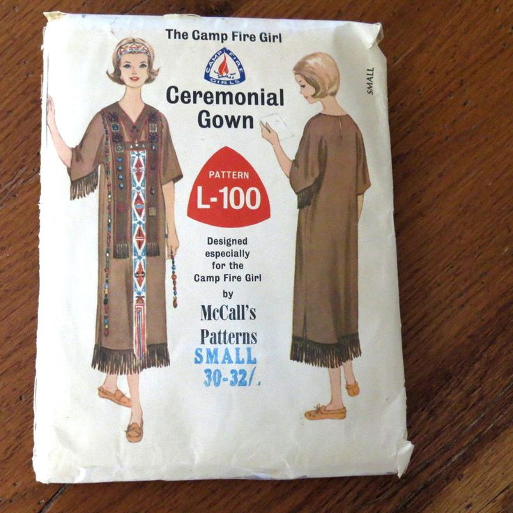 Mccalls L100 Pattern 1965 Camp Fire Girls Ceremonial Gown Outfit Size Small Vintage