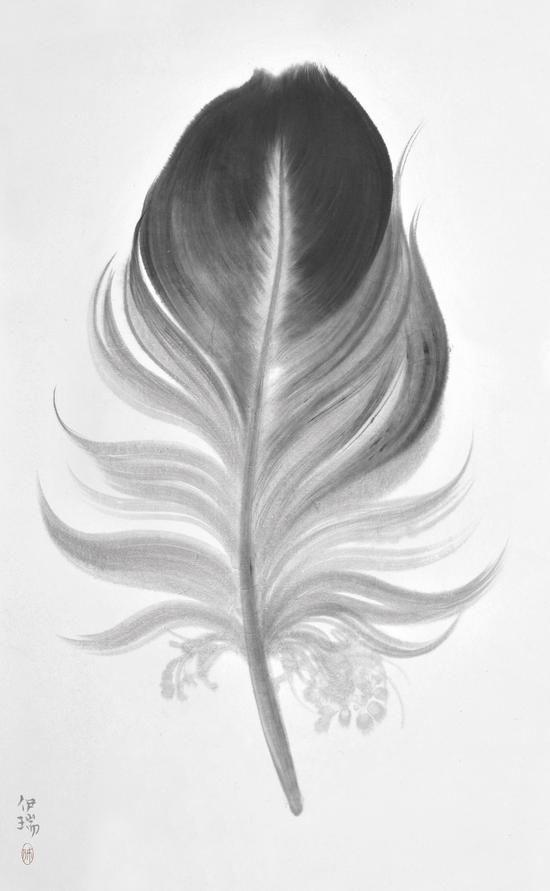 羽毛系列,宣纸水墨120×180cm,2015