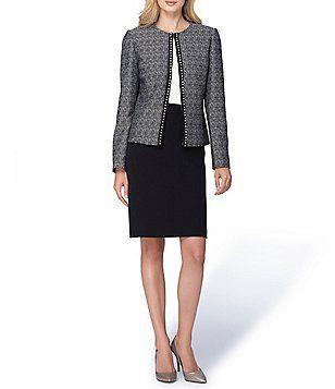 Tahari ASL Tweed Pearl Trim Jacket Skirt Suit