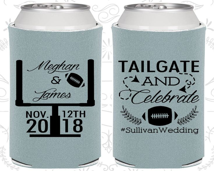 Tailgate and Celebrate, Wedding Giveaways, Football Wedding, Football Favors, Tailgate Wedding, Wedding Drink Holder (C394)