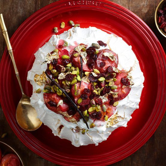 Pavlova with Baked Plums - Le Creuset Recipes