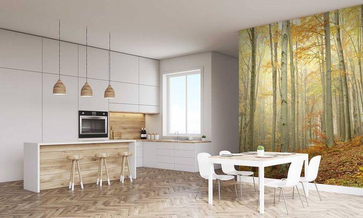 Kuchnia w stylu eko to nowoczesne i przyjazne środowisku wnętrze. Drewniane elementy dekoracyjne, roślinne akcenty – to główne wyróżniki tego stylu. Dodatkowo fototapeta z motywem lasu, również nada charakter tej kuchni. http://mural24.pl/konfiguracja-produktu/27206130/ #homedecor #fototapeta #obraz #aranżacjawnętrz #wystrójwnętrz, #decor #desing