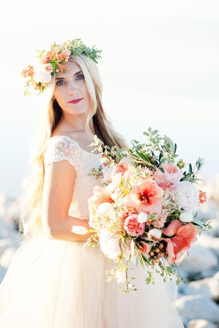 peach garden rose amaryllis peony inspired wedding flowers utah calie rose