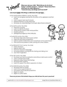 This is a single paged PDF file that you can download for free. Share this Parent Handout with families about how children learn through play. I use this handout to explain how our play-based curriculum benefits their child and what children are learning as they work in our different Learning Centers. Enjoy! Miss Kelly