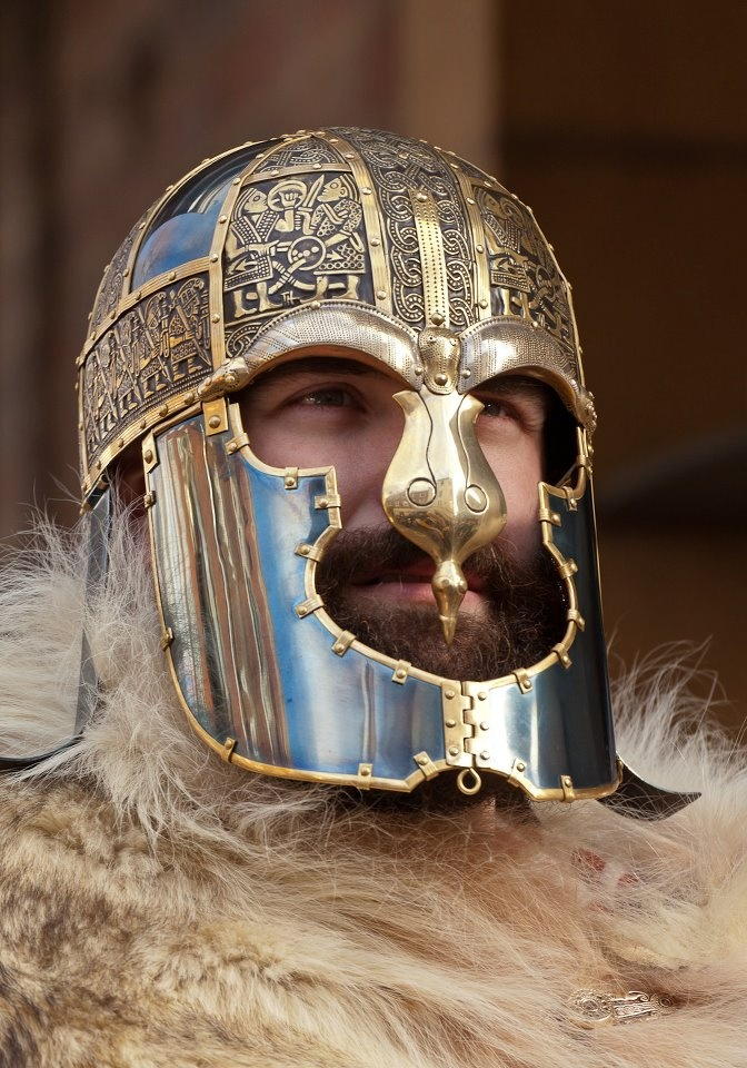 Detail of a Norse warrior's ornate helm. From the Wulfheodenas living history organization's Facebook page.