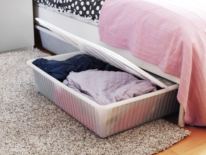 Gimse Underbed Storage Box White College Life Bedroom Bed Under