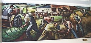 Agriculture. c1941. A mural by Carl Morris, one of the Big Four from the Northwest School. Morris was a Californian artist who studied in Paris and Vienna, and life long friend of Mark Tobey. Check out the heavy dark lines defining these figures reminiscent of Japanese prints, and the distorted forms and landscape echoing El Greco and Cezanne. When I studied Fine Art in Cambridge, my professor, Andy Crocker was a painter whose style was influenced largely by Morris.