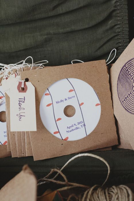 Awesome favor idea with a minimal cost. And since our wedding music isn't going to be the standard wedding music, the guests can take home new music.