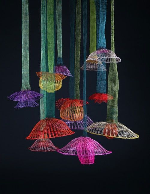 Arline Fisch Installation: Hanging Gardens, 2014. Steel, copper, silver, Knit and crocheted