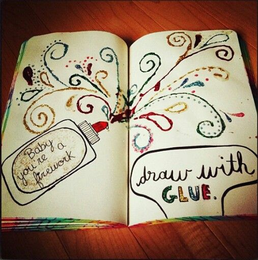 Draw with GLUE - Wreck this Journal Ideas.