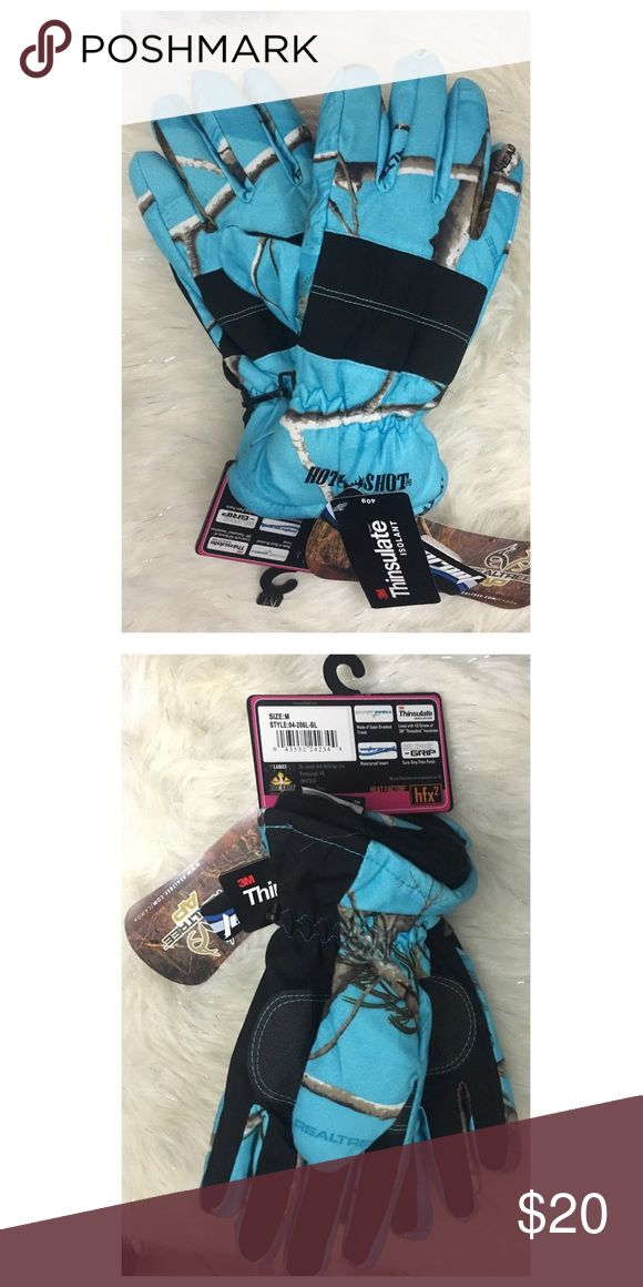 Hot shot realtree insulated gloves mittens blue M Ladies size M defender thinsulate insulated gloves defender heat factor HOT SHOT realtree blue camo winter hunting gloves mittens RealTree Accessories Gloves & Mittens