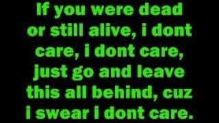 I don't care by Apocalyptica with lyrics, via YouTube.