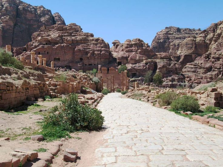 The Colonnaded Street at Petra, Jordan, was built by the Romans in the 2nd century AD, replacing an earlier Nabataean street. In its day it was lined with shops trading goods from India, Arabia, and Africa.