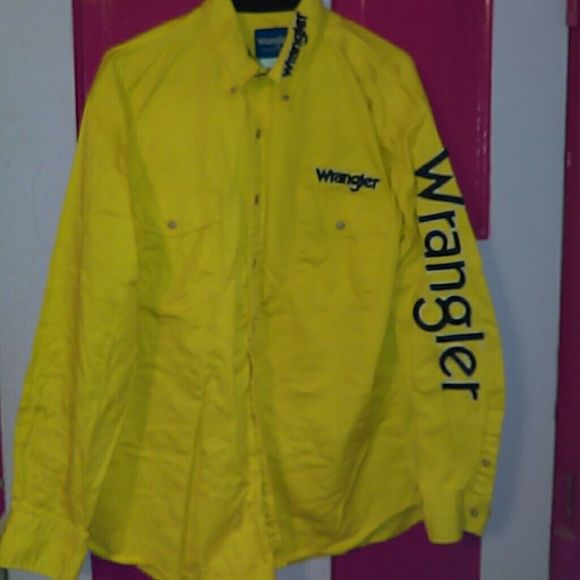 Wrangler Western Rodeo Shirt w/Embroidered Logo XL I have four of these men's XL button down western shirts with PBR style embroidery. This one's a bright yellow w the Wrangler logo down the left arm, on the left chest and on the left collar.  Vintage but in great shape.  Thanks for looking! Wrangler Tops Button Down Shirts