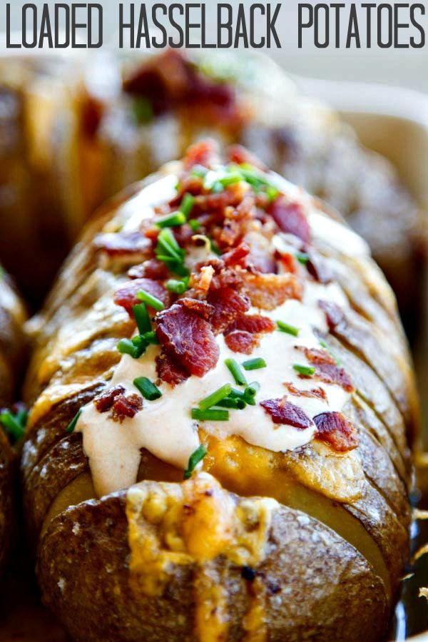 Hasselback potatoes are so easy to make and have a buttery, soft inside, gooey cheese, crispy bacon, chipotle sour cream and chives.