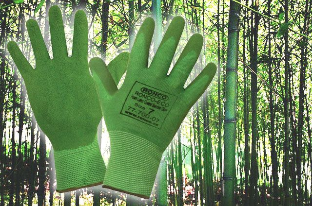 Made from natural bamboo fibres and natural latex the ECO work gloves from RONCO offer superb comfort and grip. Anti-bacterial and anti-fungal properties present in the bamboo prevent the spread of bacteria. Samples ► http://ca.en.safety.ronco.ca/products/45/ronco-eco-bamboo-latex-work-glove.html