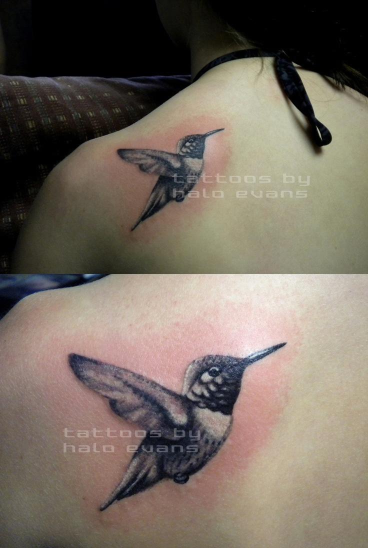 "Black and white hummingbird. Tattoo by Haylee ""Halo"" Evansat Lasting Impressionsin Ames, Iowa"