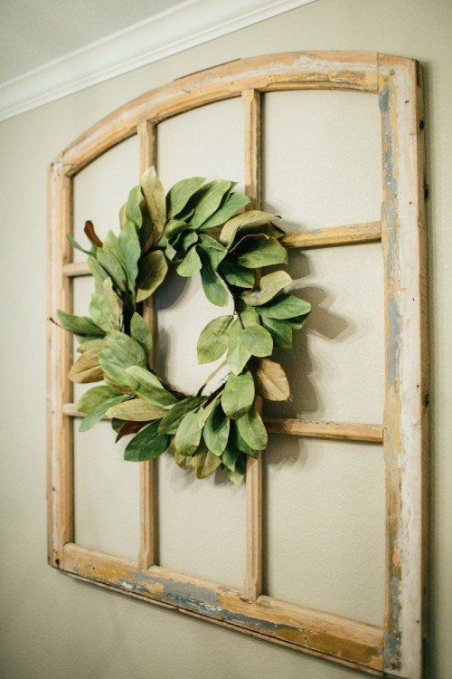 Magnolia Wreath - Magnolia Market · Window Frame DecorWindow Pane Decor  Living RoomAbove Couch Wall ...