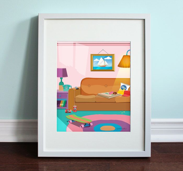 The Simpsons Living Room   The Simpsons, Homer Simpson Art Print, TV Sitcom  By