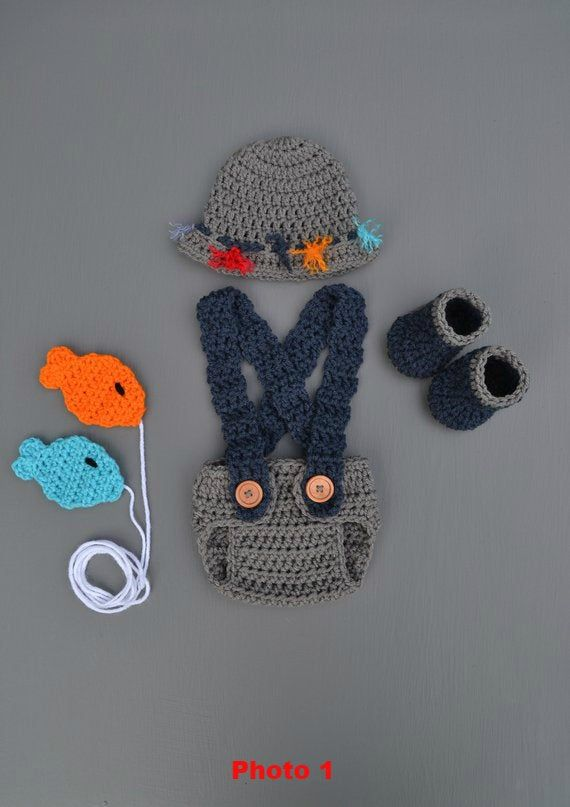 Hat /& Fish MADE TO ORDER Newborn Fishing Outfit Up To 5 pc set 0-3M- Photo Prop Baby Shower Gift Boots//Waders Shorts//Pants Newborn