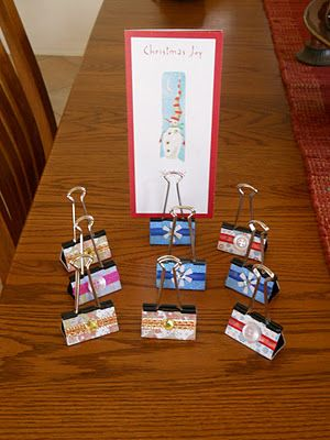 Decorative Classroom Signs using jumbo size binder clips as stands. Great idea to use for student name tags so guest teachers can easily see the names of each student (and can easily be put away when not in use). Many uses including labeling various learning centers, table teams, etc.