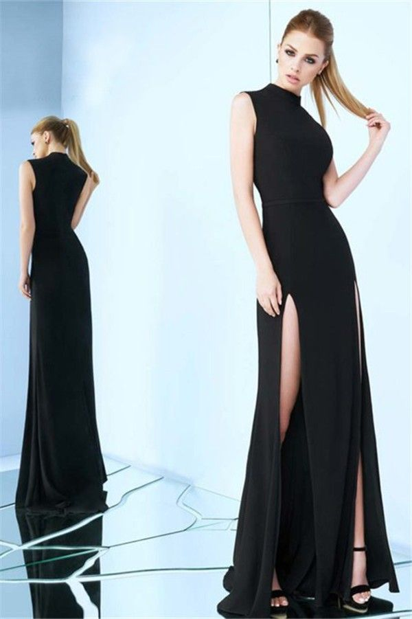 61504225887 Sheath High Neck Sleeveless Side Slit Black Jersey Evening Prom Dress