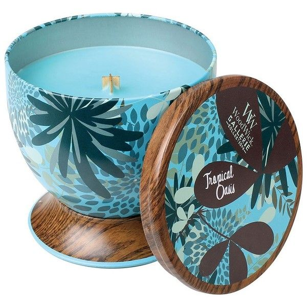 WoodWick Gallerie Tropical Oasis 8.5-oz. Candle Tin found on Polyvore featuring home, home decor, candles & candleholders, tropical, tin candles, woodwick candles, scented tin candles, scented candles and fragrance candles