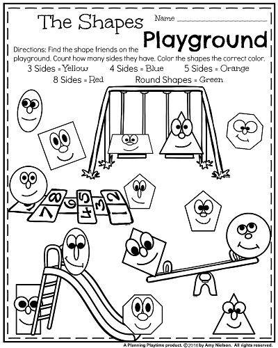 Back to School Kindergarten Worksheets - The Shapes Playground. Count the sides and color the shapes.