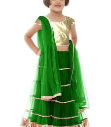Buy Green net plain kids lehenga kids-lehenga-choli online
