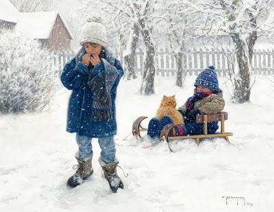 Зима. Robert Duncan. Картинки для декупажа. Часть 2. Зимние игры в сельской местности.: ♥ Creative NN. Блог Альбины Рассеиной. ♥