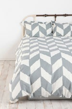 Grey Herringbone Duvet Cover