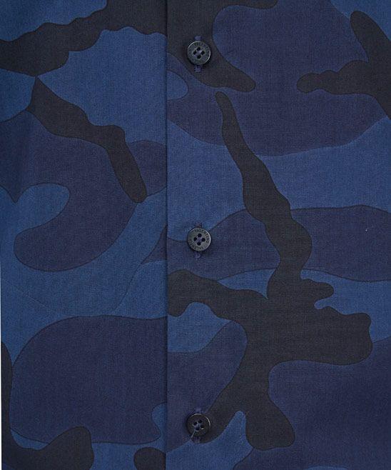 Valentino Navy Camouflage Cotton Shirt