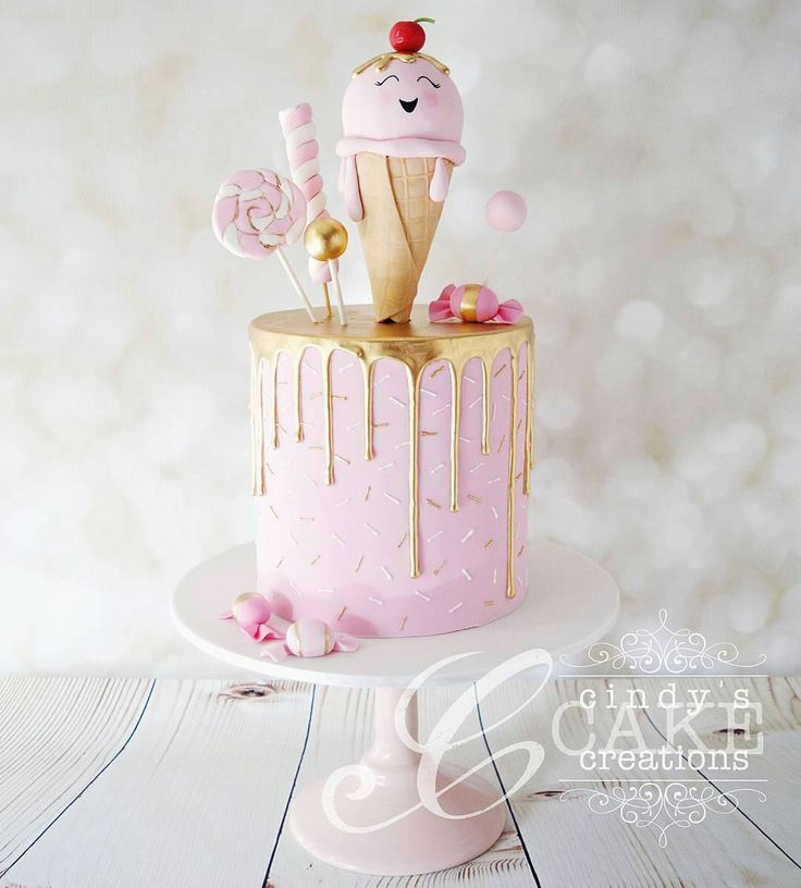 We love this kawaii ice cream cake by @cindyscakecreations! The gold drip effect looks fantastic!  #kawaii #cute #icecream #cake #instabake #customcakes #gold #membershare #sweet #Regrann