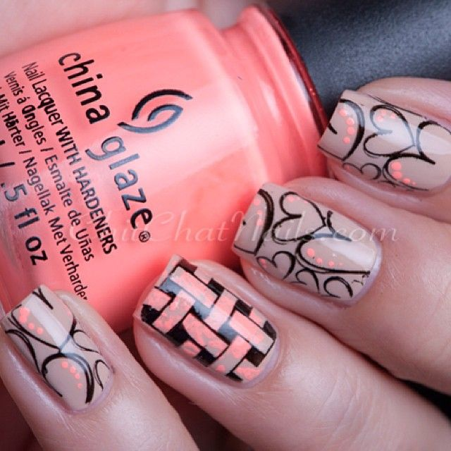 Nails. Fashion. Nail Art. Nailsart. Nailpolish. Style. Orange. Hearts. China Glaze.  Instagram photo by @Marta Warmuz