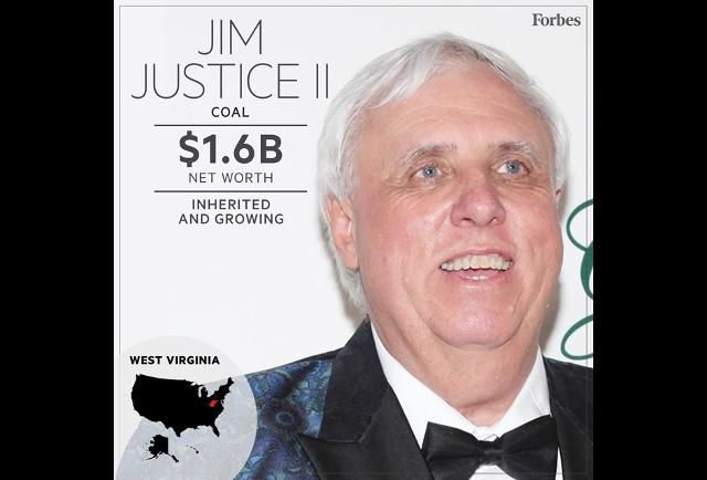 Jim Justice for governor! West Virginia's only billionaire, who switched party affiliation in 2015, from Republican to Democrat, wants to succeed incumbent governor Tomblin (D) in the election in November 2016. He won the Democratic nomination in May 2016. His campaign hopes to capitalize on the popularity he gained in the state after rescuing the historic Greenbrier Resort from bankruptcy, giving it a $250 million facelift, transforming it into a 10,000-acre complex with PGA-quality golf...