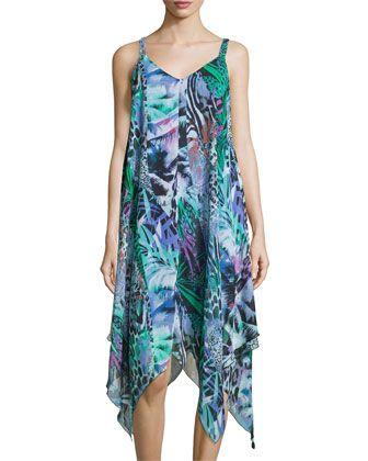 Sleeveless+Handkerchief+Hem+Dress,+Multi+by+Neiman+Marcus+at+Neiman+Marcus+Last+Call.