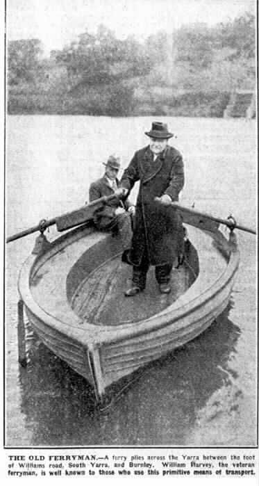 PH 9028. Photoprint of ferryman William Harvey, rowing the ferry at the Williams Road Ferry, 1931. Image originally published in Argus newspaper, 29 July 1931, page 7.