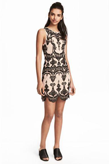 Koronkowa sukienka - Beżowy/Czarny - ONA | H&M PL 1