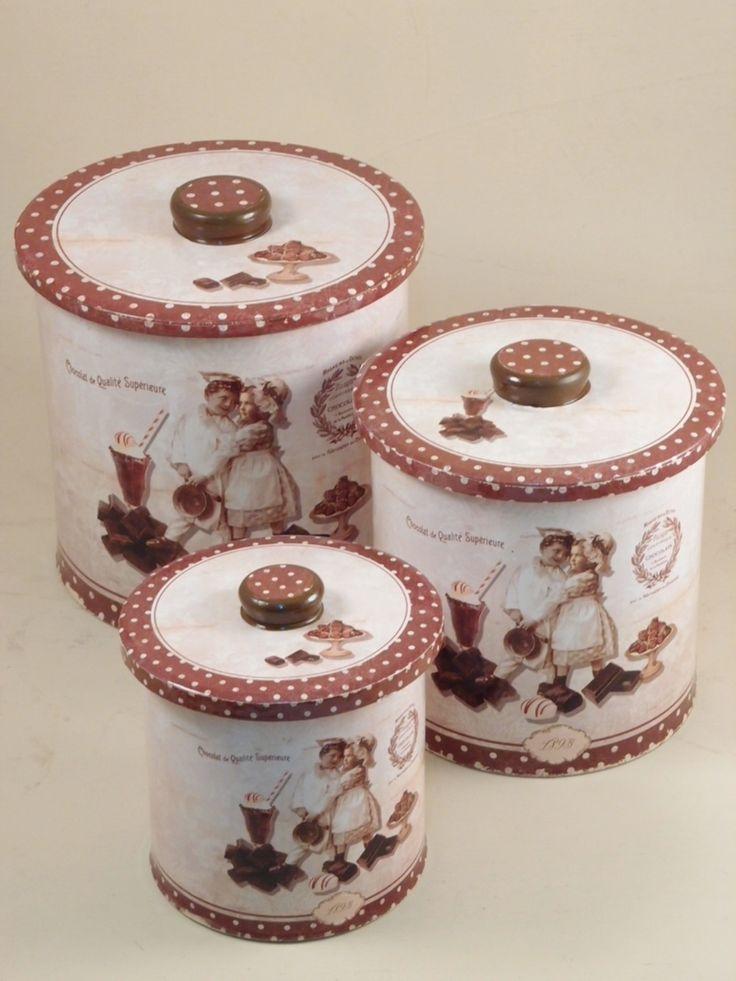 Scatola latta portabiscotti a pois decorata. Clicca per tutti i modelli