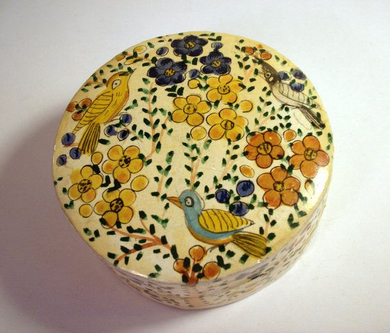 Vintage Hand Painted Box / India / Papier Mache / Paper / Birds / Trinket / Jewelry