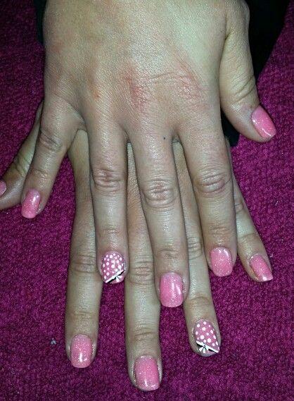 Glitter pink polkadot nails