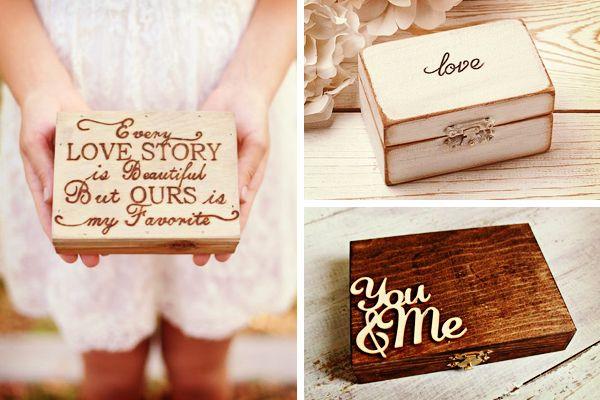 Dieciséis ideas para la caja de los anillos de casados #bodas #ElBlogdeMaríaJosé…