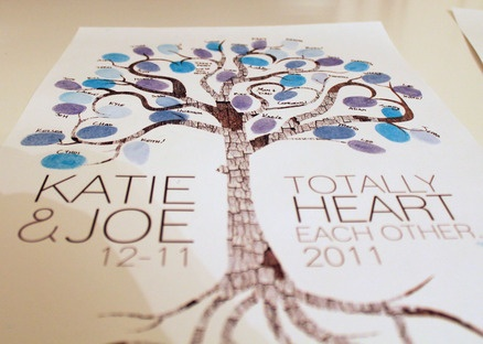 love the colors and the tree bark on this guest book