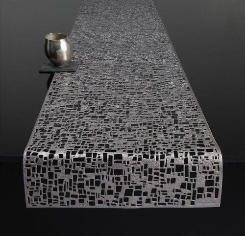 Chilewich Pressed Vinyl Table Runner Cubic Gunmetal 14 Quot X