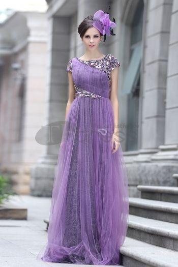Abiti in Magazzino-La parola spalla le paillettes perline abito da sera viola